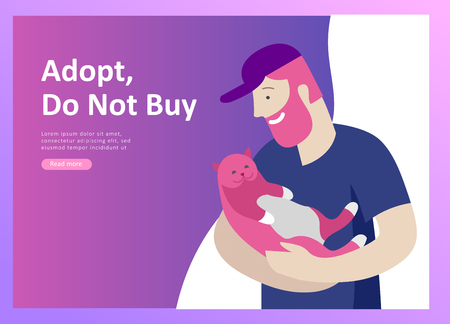 Set of Landing Page Templates with Vector Symbol. Happy people with their pets, a cat loves its owners, care and love, a pet shop and a veterinary pharmacy. Animal Day and adoption. Vector illustration