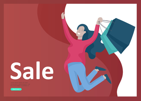 Landing page templates. People running for sale, crazy discounts, end of season, carrying shopping bags with purchases. Madness on seasonal sale at store shop. Cartoon character for black friday Archivio Fotografico - 126372849