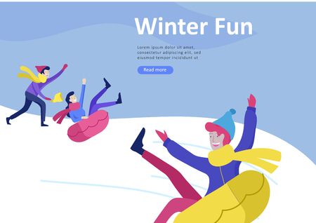 Landing page templates. People dressed in winter clothes or outerwear performing outdoor activities fun. Snow festival, sledding or snowboard. Christmas family ski skating, skiing extreme sport Illustration
