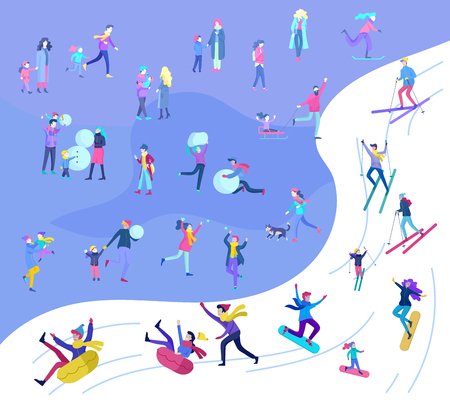 People dressed in winter clothes or outerwear performing outdoor activities fun. Snow festival, sledding and snowboard. Christmas family ski skating, making snowman, skiing wintertime extreme sport Ilustração