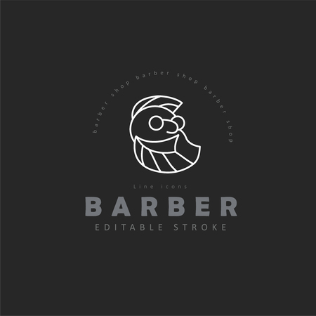Vector icon and logo for barbershop and beauty saloon . Editable outline stroke size. Line flat contour, thin and linear design. Simple icons. Concept illustration. Sign, symbol, element.