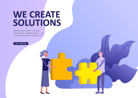 Set Landing page template people business app, marcet research, merger, focus group research and earnings growth, start up and solution. Vector illustration concept website mobile development Stock Illustratie