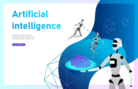 Concept of Artificial Intelligence and Cyber Monday, futuristic cyberpunk design, cyborgs work on surrealistic project, modern nano technology for website and mobile website. Landing page template Standard-Bild - 114842443
