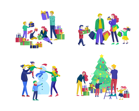 greeting card winter Holidays. Merry Christmas and Happy New Year. People Characters familydecorating Christmas tree, making snowman, preparing for celebrating, buying and give present, unpack gift