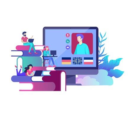 Online language courses, distance education, training. Language Learning Interface and Teaching Concept. Education Concept, training young people. Internet students Vektorgrafik