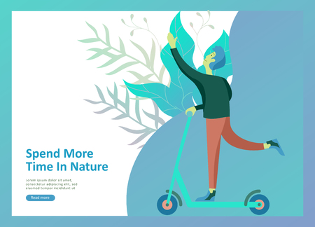 Landing page templates for hobby blog. People enjoying their hobbies, riding a scooter, running. Vector characters Illustration
