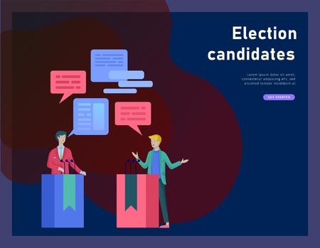 Concept de vote et d'élection. Campagne préélectorale. Promotion et publicité du candidat. Citoyens débattant des candidats pour voter et voter Concept de vote et d'élection en ligne avec des personnes. Vecteurs