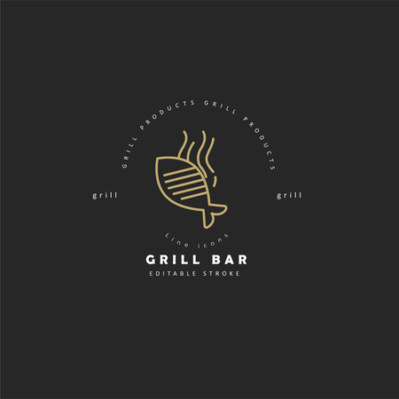 Vector icon and logo for meat and grill cafe or steak restaurant. Editable outline stroke size. Line flat contour, thin and linear design. Simple icons. Concept illustration. Sign, symbol, element.