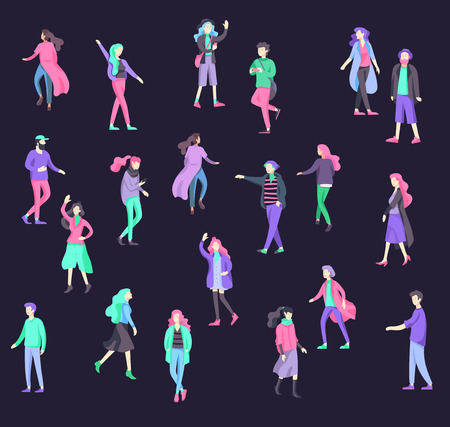Vector people character walking on the street in autumn or winter clothes, friends and couples. Colorful Group of male and female flat cartoon characters Banque d'images - 126372922