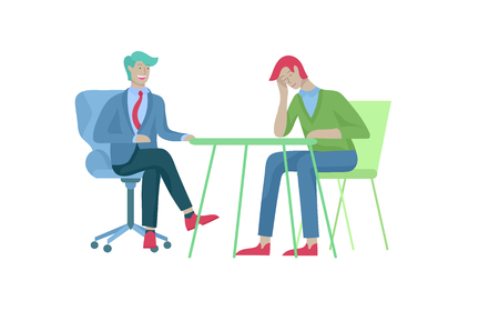 Businessmen making handshake, business etiquette, merger concepts office workers, clerks or managers talking to each other, discussing, depressed Tired male and female office workers sitting, sleeping Banque d'images - 114785166