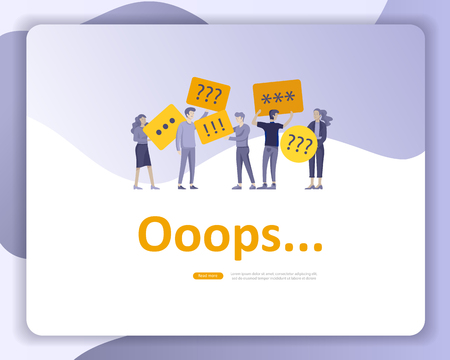 Landing page templates Error page illustration with People characters and cat. Page not found. Vector concept illustration for 404 error with Funny cartoon workers Vektorové ilustrace