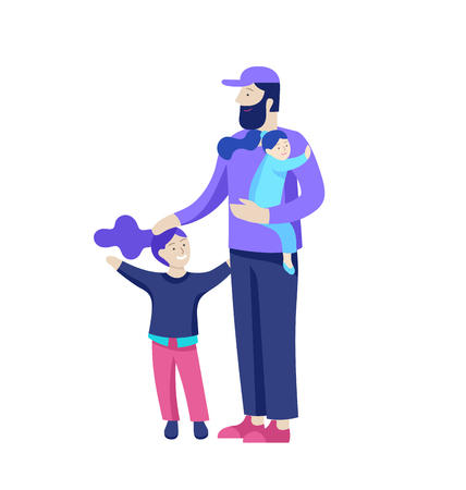 Vector people character. Father and him child spending time together, happy male parent. Colorful flat concept illustration. Stock Vector - 114785414