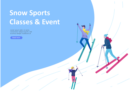 Landing page templates. People dressed in winter clothes or outerwear performing outdoor activities fun. Snow festival, sledding or snowboard. Christmas family ski skating, skiing extreme sport Ilustração