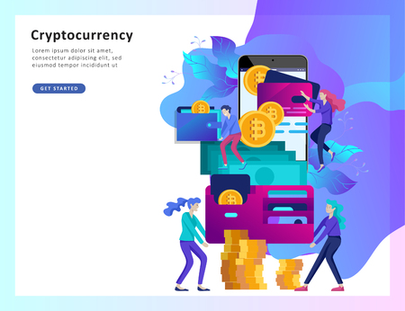 Cryptocurrency and blockchain composition with people, analysts and managers working on crypto start up. Bitcoin and cryptocurrency.