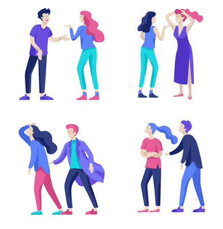 Vector people in bad emotions, character in conflict, angry or tired and in stress. Aggressive people yell at each other. Colorful flat concept illustration. Zdjęcie Seryjne - 126373014
