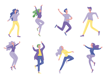 Collection of dancers. Men and women performing dance at school, studio. Male and female characters. Group of young happy dancing people. Smiling young men and women enjoying dance party