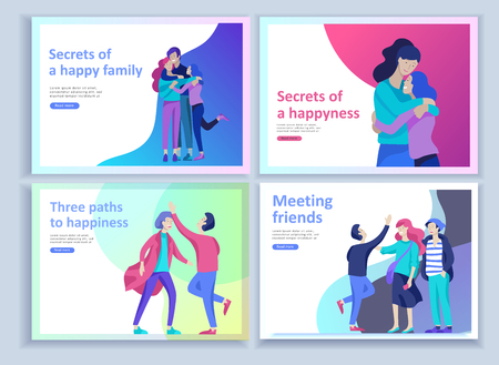 Set of Landing page templates for positive psychology, group family psychotherapy. Happy friends character have positive emotions, way to happiness and happy life munderstanding with friends and loved Illusztráció