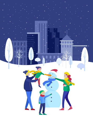 template greeting card winter Holidays. Merry Christmas and Happy New Year Website. People Characters family makes family snowman in park on snowy landscape background Standard-Bild - 126373028