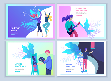 Set of Landing page templates for hobby blog. People enjoying their hobbies, dancing, riding a scooter, paint walls and a picture, play the guitar, cooking. Vector characters