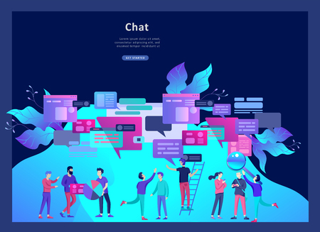Concept Landing page template, flat style, businessmen discuss social network, news, social networks, chat, dialogue speech bubbles, new projects Illustration