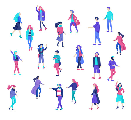 Vector people character walking on the street in autumn or winter clothes, friends and couples. Colorful Group of male and female flat cartoon characters Banque d'images - 126373380