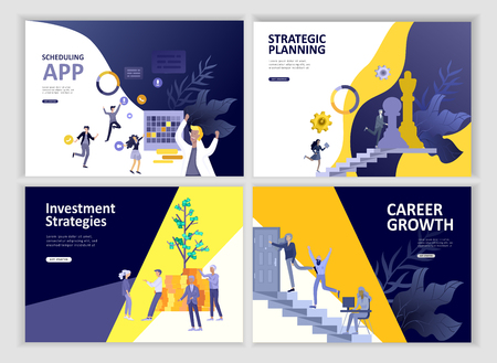 Set Landing page template people business scheduling app, strategic planning merger, investment strategies, career growth, research and development. Vector illustration concept website mobile Stockfoto - 126373388