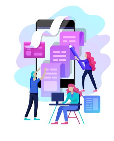 Concept vectorillustratie van zakelijke bloggen, mensen en onderwijs technologie. Vectorillustratienieuws, copywriting, seminars, tutorial, creatief schrijven, contentbeheer voor webpagina's, bannerpresentatie, sociale media-documenten