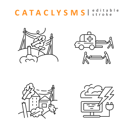 Cataclysms and natural disasters. Vector icon and logo. Editable outline stroke size. Line flat contour, thin and linear design. Simple icons. Concept illustration. Sign, symbol, element.  イラスト・ベクター素材