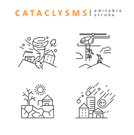Cataclysms and natural disasters. Vector icon and logo. Editable outline stroke size. Line flat contour, thin and linear design. Simple icons. Concept illustration. Sign, symbol, element. Vettoriali