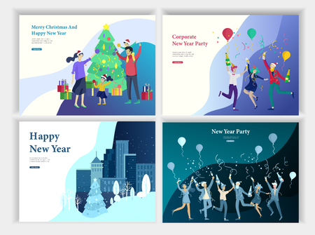 Set of Landing page template or greeting card. Friend celebrates Merry Christmas and Happy New Year. Character family buying gift, with purchases, makes snowman. Christmas tree on urban park landscape Vecteurs