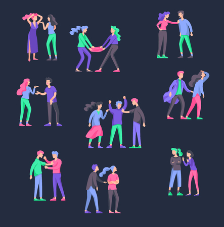 Vector people in bad emotions, character in conflict, angry or tired and in stress. Aggressive people yell at each other. Colorful flat concept illustration. Archivio Fotografico - 126373441
