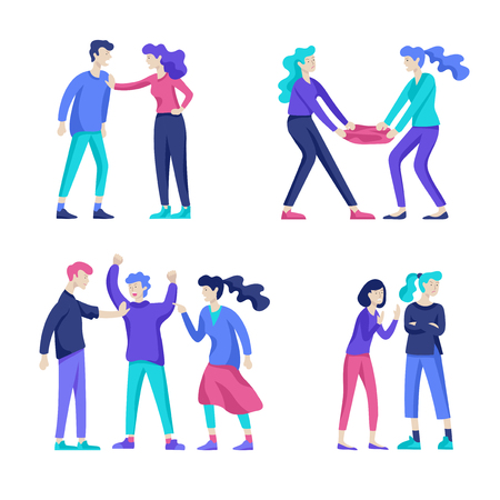 Vector people in bad emotions, character in conflict, angry or tired and in stress. Aggressive people yell at each other. Colorful flat concept illustration. Фото со стока - 126373442