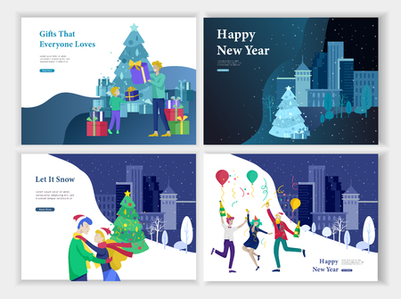 Set of Landing page template or greeting card. Friend celebrates Merry Christmas and Happy New Year. Character family buying gift, with purchases, makes snowman. Christmas tree on urban park landscape