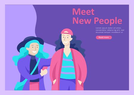 Modelli di pagine di destinazione. Persone di vettore amici felici personaggi adolescenti con gadget camminano e chiacchierano, incontrano nuove persone, chattano con vecchi amici e ne fanno di nuove. Illustrazione piatta colorata