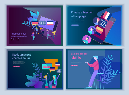 Set of Landing page templates for Online language courses, distance education, training. Language Learning Interface and Teaching Concept. Education Concept, training young people. Internet students Stock Illustratie
