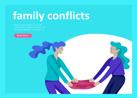 Landing page templates for psyhology mental problems, depression panic attacks, paranoia anger control, relationship family conflict, stress and misunderstanding, psychotherapy character Stock Vector - 126373535