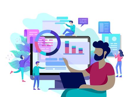 Illustration conceptuelle de l'entreprise, analyse des employés de bureau de l'échelle évolutive, référencement, codage du site Web d'études de marché, optimisation de la recherche sur Internet, bannière, présentation, médias sociaux