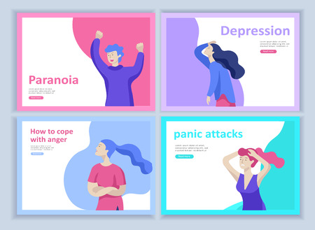 Set of Landing page templates for psyhology mental problems, depression panic attacks, paranoia anger control, relationship family conflict, stress and misunderstanding, group psychotherapy character Stock Vector - 126373620
