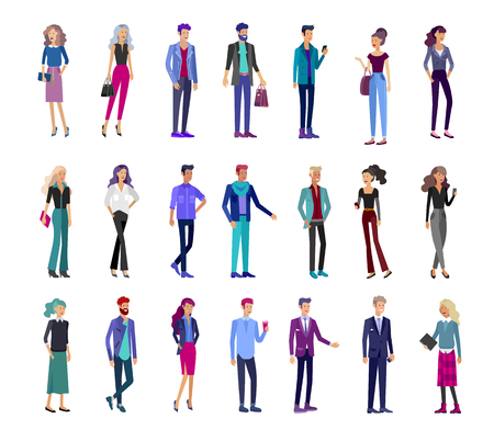 Detailed character business men and women, working people. Business team Lifestyle, stylish clothes style. People with gadgets, backpacks and books, teamwork concept. Flat design people characters. Illustration
