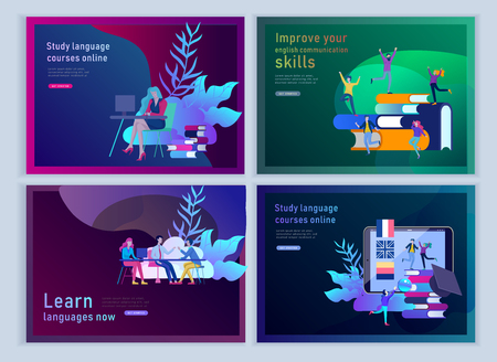 Set of Landing page templates for Online language courses, distance education, training. Language Learning Interface and Teaching Concept. Education Concept, training young people. Internet students