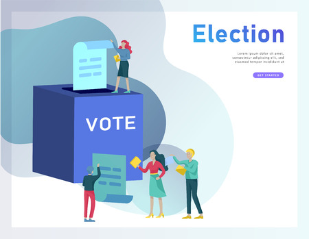 Concepto de votación y elección. Campaña preelectoral. Promoción y publicidad de candidato. Ciudadanos debatiendo candidatos para votar y votar Voto en línea y concepto de elección con personas.
