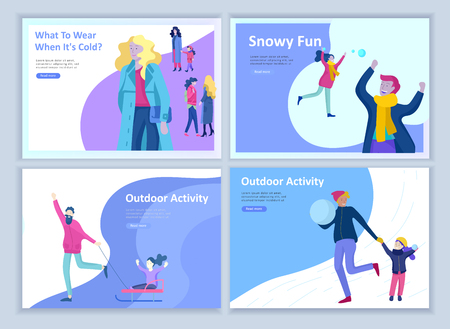 Set of Landing page templates. People dressed in winter clothes or outerwear performing outdoor activities fun. Snow festival, sledding or snowboard. Christmas family ski skating, skiing extreme sport Illustration