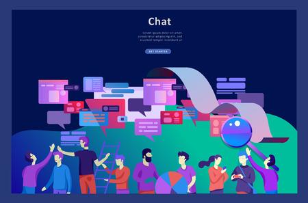 Concept Landing page template, flat style, businessmen discuss social network, news, social networks, chat, dialogue speech bubbles, new projects Ilustração