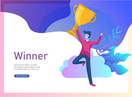 Il successo del team aziendale tiene la Coppa del vincitore d'oro, il concetto di persone sono felici della vittoria. Impiegati che festeggiano con un grande trofeo, obiettivi di modi, primo posto negli affari, crescita finanziaria. Pagina di destinazione Vettoriali