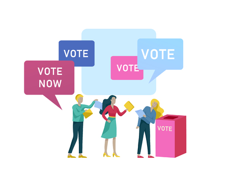 Concept de vote et d'élection. Campagne préélectorale. Promotion et publicité du candidat. Citoyens débattant candidat. Concept de vote et d'élection en ligne avec des personnes.