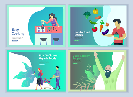 Set of Landing page templates with people which Cooking healthy organic food, simple recipes, how to choose products in the supermarket, food delivery and fast food. ?ulinary blog or diet tips concept