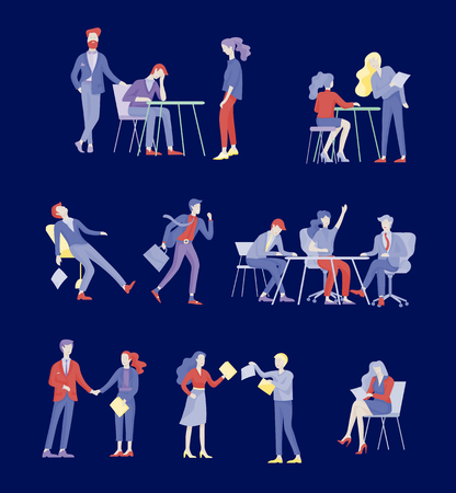Businessmen making handshake, business etiquette, merger concepts office workers, clerks or managers talking to each other, discussing, depressed Tired male and female office workers sitting, sleeping Vettoriali