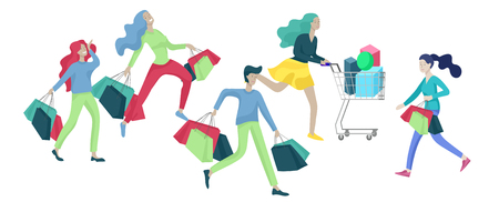 Collection of people carrying shopping bags with purchases. Madness on sale, line of crazy Men and women taking part in seasonal sale at store, shop, mall. Cartoon characters concept for black friday. 向量圖像