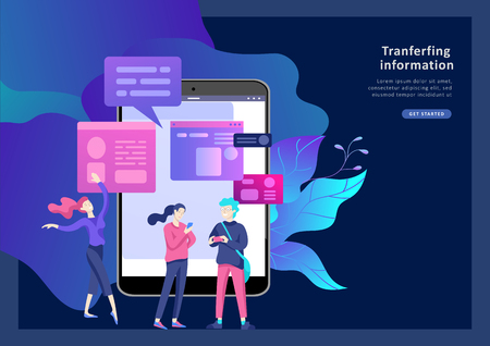 Vector illustration, small people are working on creating a website, applications, transferring information, vector illustration of the concept of web page design and development of mobile websites,
