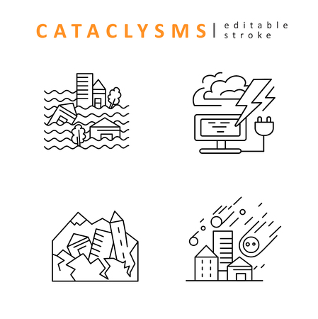 Cataclysms and natural disasters. Vector icon and logo. Editable outline stroke size. Line flat contour, thin and linear design. Simple icons. Concept illustration. Sign, symbol, element.